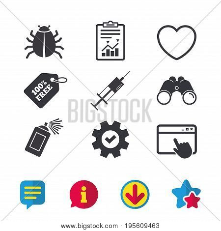 Bug and vaccine syringe injection icons. Heart and spray can sign symbols. Browser window, Report and Service signs. Binoculars, Information and Download icons. Stars and Chat. Vector