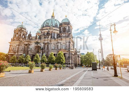 View on the famous Dom cathedral with Lust garden and television tower during the morning light in Berlin city