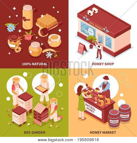 Bee keeping honey production and sale 4 isometric icons concept with beehives and market isolated vector illustration