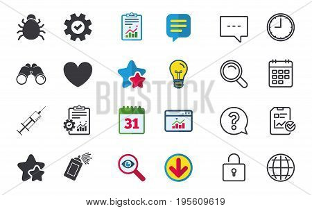 Bug and vaccine syringe injection icons. Heart and spray can sign symbols. Chat, Report and Calendar signs. Stars, Statistics and Download icons. Question, Clock and Globe. Vector