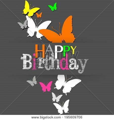 A Modern Happy Birthday illustration: grey background with colorful neon butterflies.