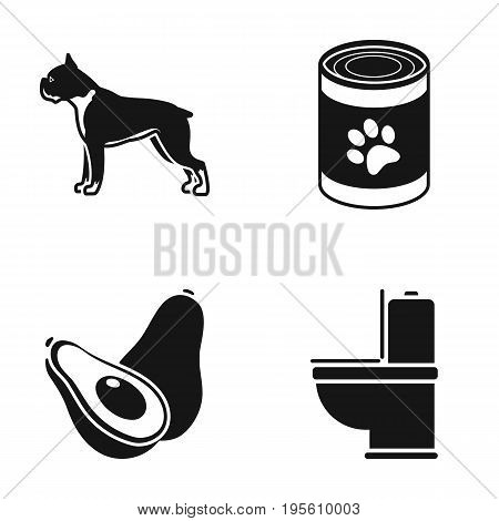 Breed, Food and or  icon in black style.Veterinary , Plumbing icons in set collection.