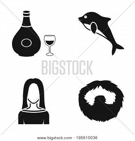 alcohol, hairdresser and or  icon in black style. sea animal, barber icons in set collection.