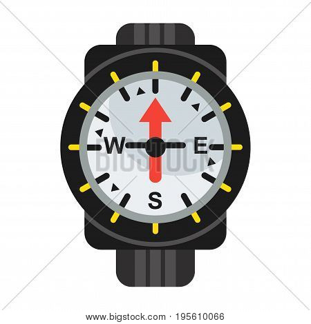Waterproof compass for determining direction under water during diving. Flat vector cartoon illustration. Objects isolated on a white background.