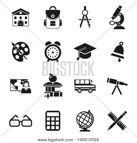 Digital vector black school icons infographics with drawn simple line art, telescope map globe hat bell clock pen ruler book apple girl boy pupil brush calculator bus building bag, flat style