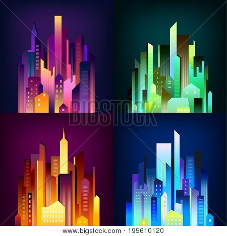 Night city downtown skyscrapers and business center edifices in colorful illumination lights 4 icons square poster vector illustration