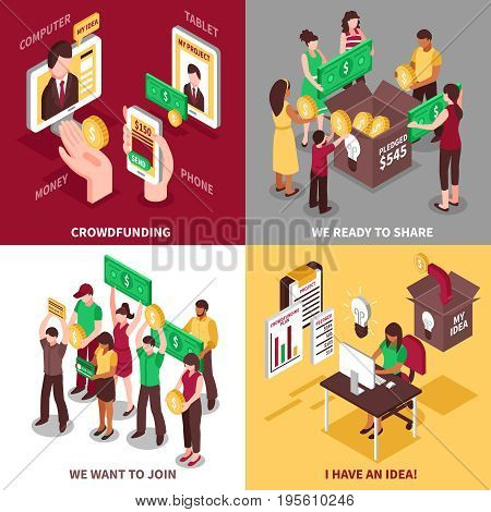 Crowdfunding isometric design concept with people wishing to share money and join to project isolated vector illustration