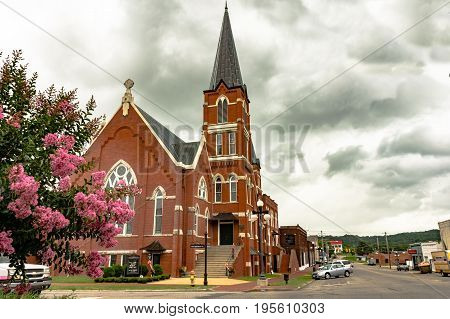 Pulaski Tennessee USA - June 23 2017: First Methodist Church in Pulaski Tennessee.