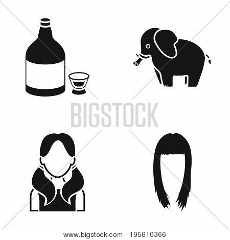 alcohol, animal and or  icon in black style. hairdresser, profession icons in set collection.