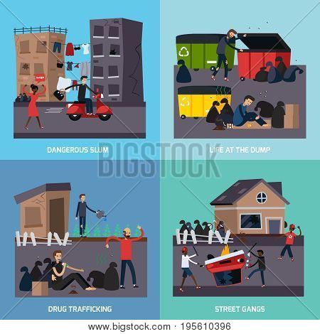 Four square flat ghetto slum icon set with dangerous slum street gangs drug trafficking descriptions vector illustration