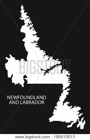 Newfoundland And Labrador Canada Map Black Inverted Silhouette Illustration Shape