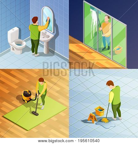 Cleaning 2x2 isometric design concept with people washing window floor and items of office space vector illustration