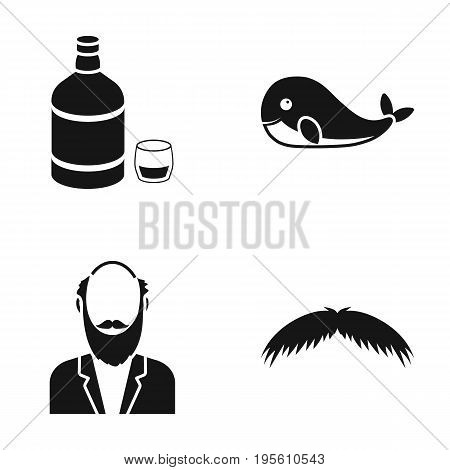 Alcohol, animal and or  icon in black style.old age, barber icons in set collection.