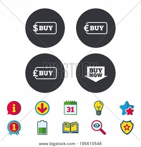 Buy now arrow icon. Online shopping signs. Dollar, euro and pound money currency symbols. Calendar, Information and Download signs. Stars, Award and Book icons. Light bulb, Shield and Search. Vector