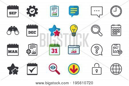 Calendar icons. September, March and December month symbols. Check or Tick sign. Date or event reminder. Chat, Report and Calendar signs. Stars, Statistics and Download icons. Vector