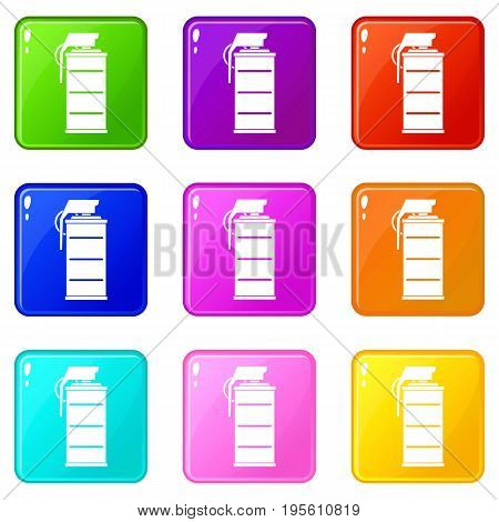Stun grenade icons of 9 color set isolated vector illustration
