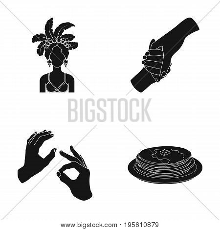 honey, cooking and or  icon in black style.Charitable, human body icons in set collection.
