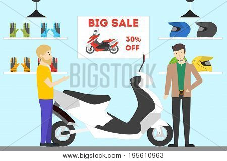 Motorcycle shop interior. People buy new bike with big sale.