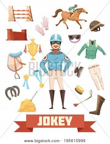 Jockey ammunition decorative icons retro collection with gloves comb boots saddle medals and prizes cartoon vector illustration