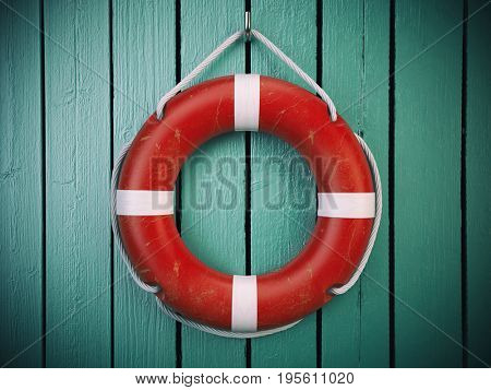 Life belt or rescue ring  on wooden wall. Salvation, protection and security concept. 3d illustration