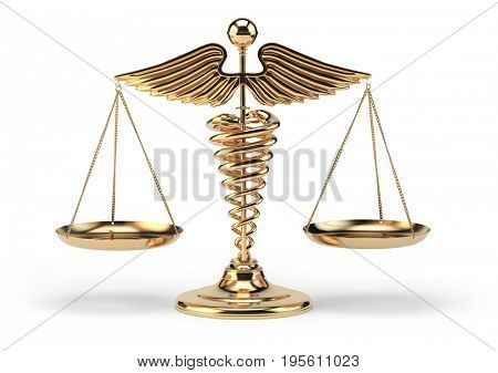 Medical caduceus symbol as scales. Concept of medicine and justice. 3d illustration
