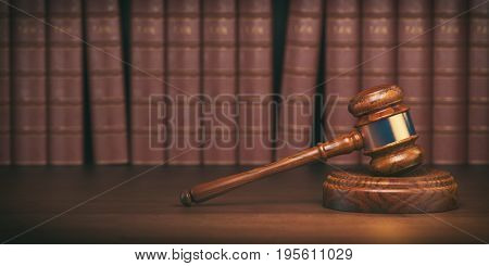 Gavel on the background of vintage lawyer books. Concept of law and justice. 3d illustration