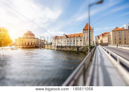 Beautiful riverside view on the Bode museum during the sunrise in Berlin city. Tilt-shift image technic