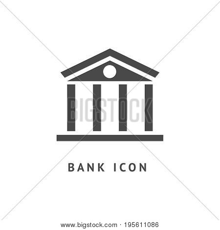 Digital vector black business bank building icon with drawn simple line art, flat style