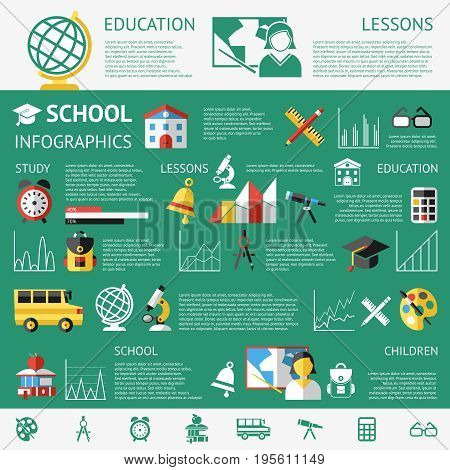 Digital vector green school icons with drawn simple line art info graphic, children map globe hat bell clock pen ruler book girl boy pupil brush calculator bus lessons bag holidays lessons, flat style