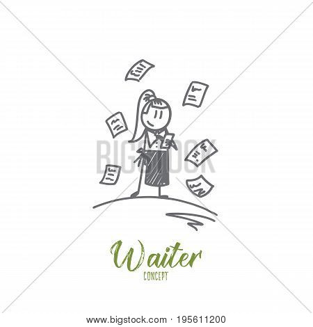 Waiter concept. Hand drawn charming female waiter in apron writing order. Waitress in cafe isolated vector illustration.