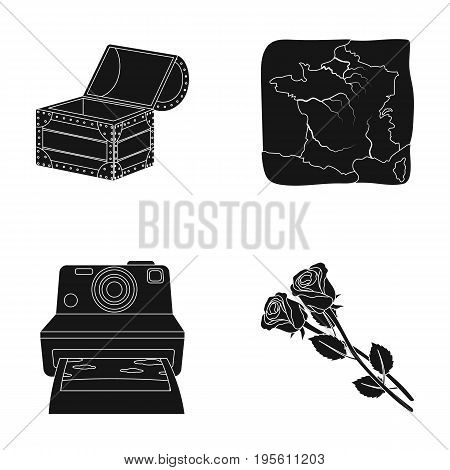 travel, technology and or  icon in black style. Education, floriculture icons in set collection.