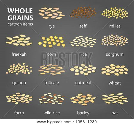 Collection of different cartoon whole cereal grains isolated on the chalkboard with names.