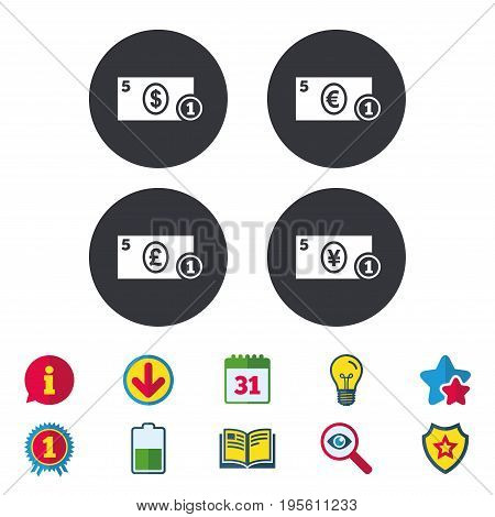 Businessman case icons. Dollar, yen, euro and pound currency sign symbols. Calendar, Information and Download signs. Stars, Award and Book icons. Light bulb, Shield and Search. Vector