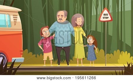 Family retro cartoon composition with grandparents and grandchildren waiting transport on bus stop outdoor flat vector illustration