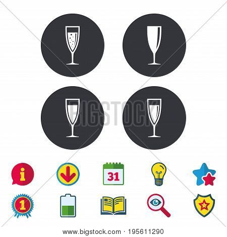 Champagne wine glasses icons. Alcohol drinks sign symbols. Sparkling wine with bubbles. Calendar, Information and Download signs. Stars, Award and Book icons. Light bulb, Shield and Search. Vector