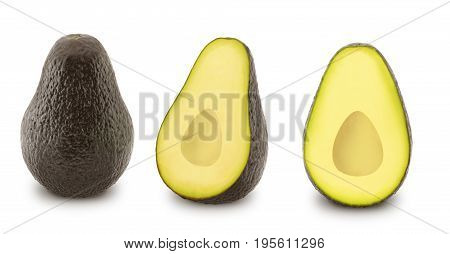 Set of ripe avocados isolated on white background.