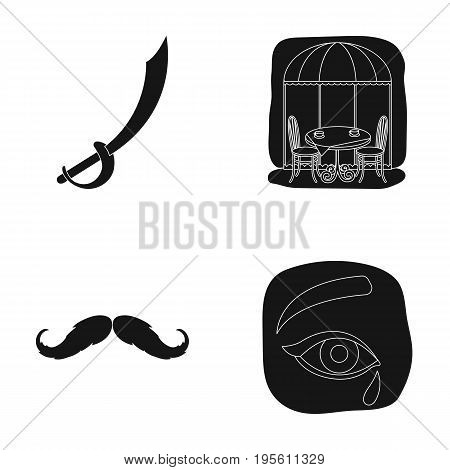 travel, barber and or  icon in black style.mourning, history icons in set collection.