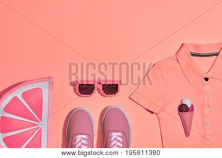 Summer Hipster Girl Accessories Set. Fashion Design. Hot Summer Sunny Vibes. Glamor Grapefruit Clutch, Trendy Sneakers, fashion Sunglasses on Yellow. Sweet Style. Vanilla Pastel Color.Minimal, Art