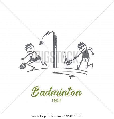 Badminton concept. Hand drawn people playing badminton. Persons at court with rackets and shuttlecock isolated vector illustration.