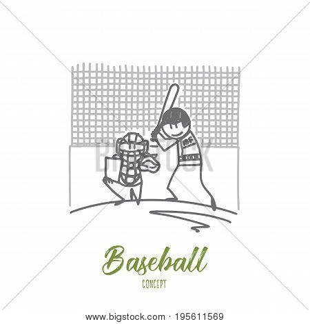 Baseball concept. Hand drawn people playing baseball. Players at field with ball and baseball bat isolated vector illustration.
