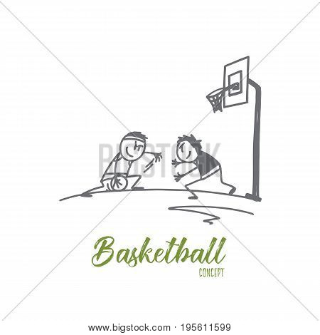 Basketball concept. Hand drawn people playing basketball. Two athlethes playing basketball outdoors isolated vector illustration.