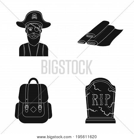 travel, training and or  icon in black style.atelier, mourning icons in set collection.