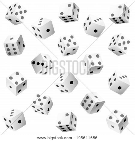 Vector Illustration Of White Dice With Double Six Roll. Web Site Page And Mobile App Design Vector E