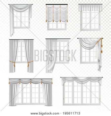 Collection of realistic windows with curtains in classic style eight flat isolated images on transparent background vector illustration
