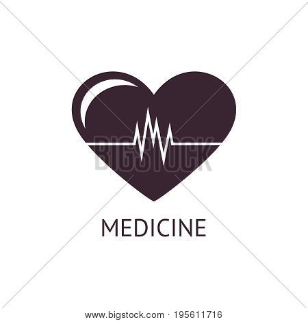 Digital vector pharmacy medical big black heart icon with drawn simple line art, flat style