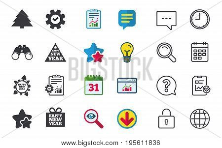 Happy new year icon. Christmas trees signs. World globe symbol. Chat, Report and Calendar signs. Stars, Statistics and Download icons. Question, Clock and Globe. Vector