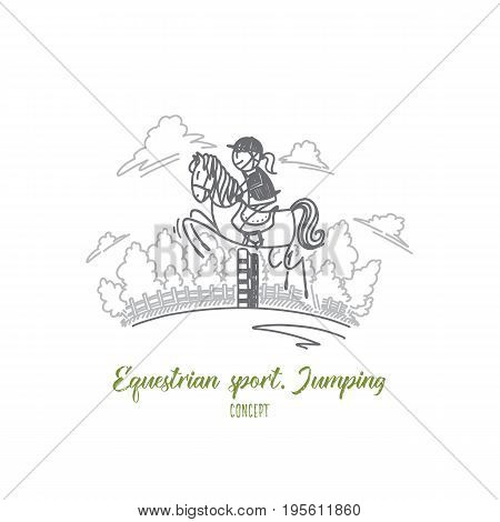 Equestrian sport jumping concept. Hand drawn female equestrian on a horse. Rider in jumping show isolated vector illustration.