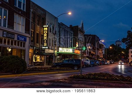 Bowling Green Kentucky USA - June 22 2017: Capitol Theater in the downtown Bowling Green entertainment district during blue hour.