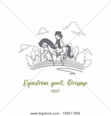 Equestrian sport dressage concept. Hand drawn dressage horse and woman rider. Female person on horse isolated vector illustration.