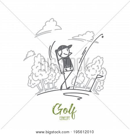 Golf concept. Hand drawn golfer hitting golf shot. Golf player on a field isolated vector illustration.